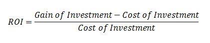 Formula to calculate ROI