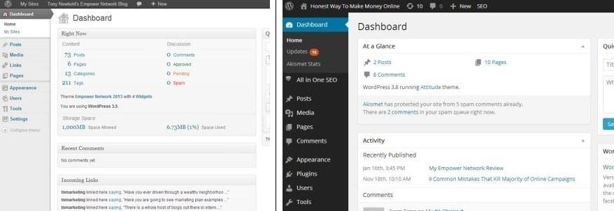 Empower Network $25/mth blog (left) vs WordPress FREE blog (right)