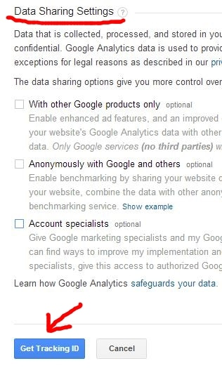 Here you get Google Analytics tracking id
