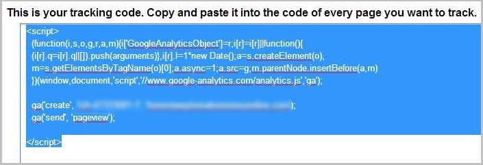 Select the Google Analytics tracking script