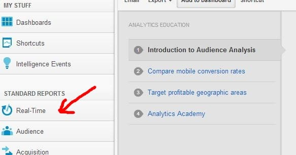 Google Analytics Real Time Option