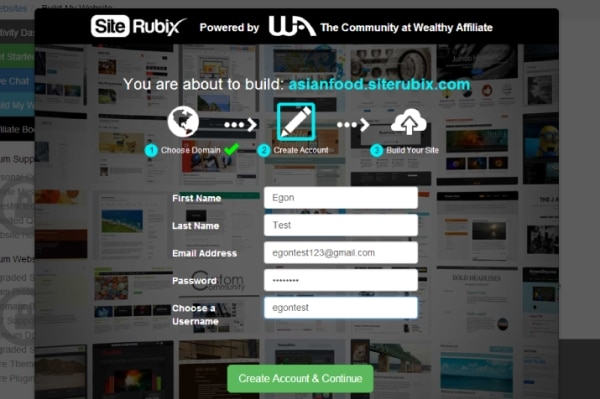 Make your own blog free - Register your SiteRubix Account