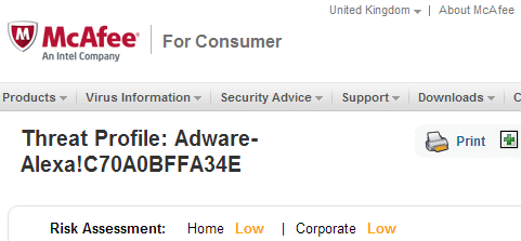 McAfee considers Alexa toolbar an adware
