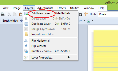 Paint.net add new layer