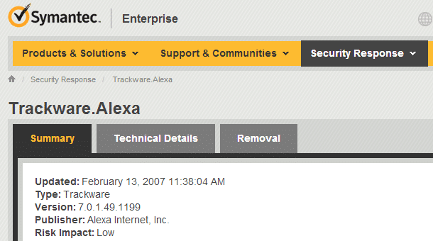 Symantec considers Alexa toolbar trackware