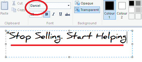 Install fonts Windows 7/Vista/8 MS Paint example