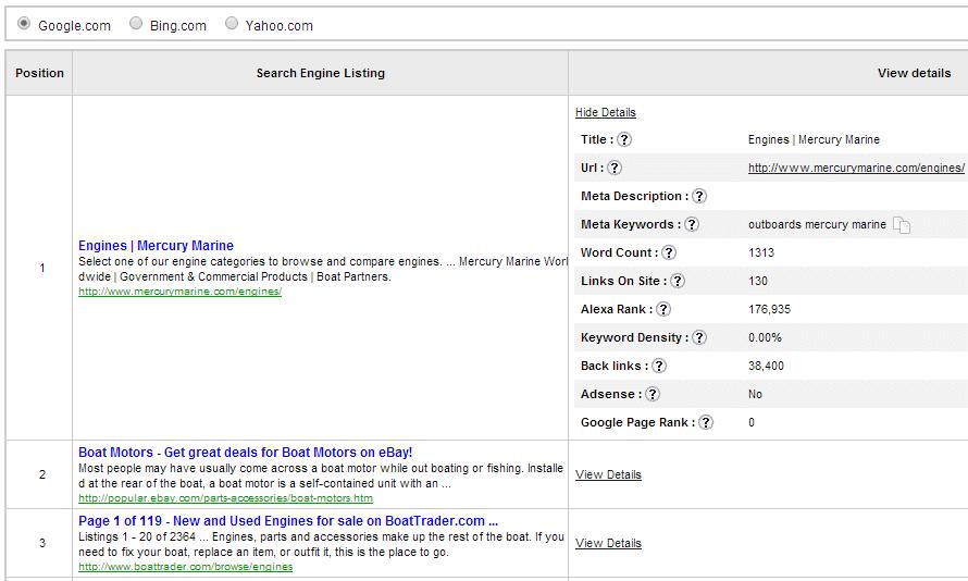 Jaaxy Keyword tool Website Serp
