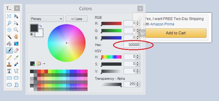 Paint.net color settings