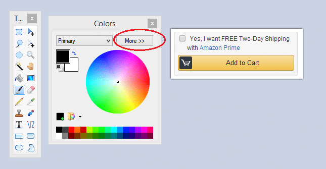Paint.NET toolbar and image