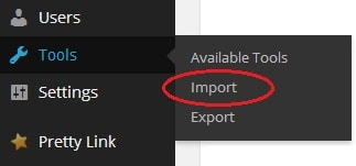 Create WordPress backup, import