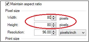 REsize image by giving new values to width and height.