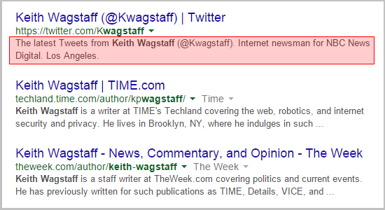 Keith Wagstaff Twitter bio is #1 in Google SERP