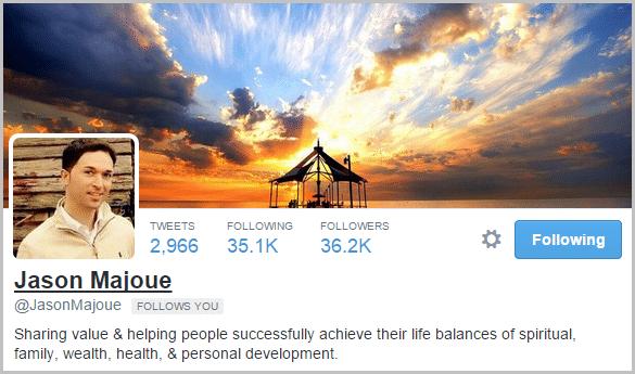 Jason Majoue Twitter bio uses a sentence.