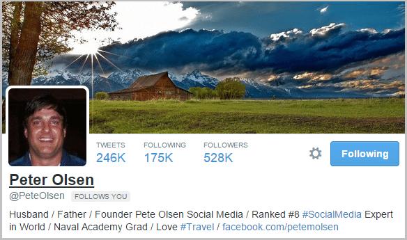 Peter Olsen Twitter bio