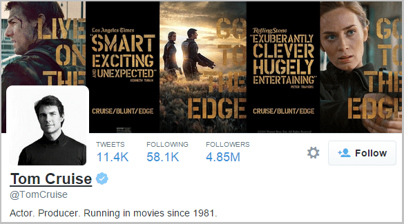 Tom Cruise Twitter profile