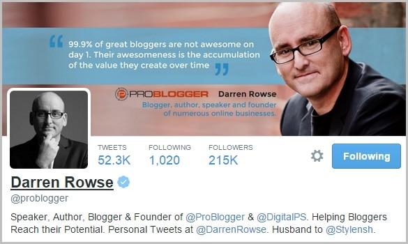 Darren Rowse Twitter bio