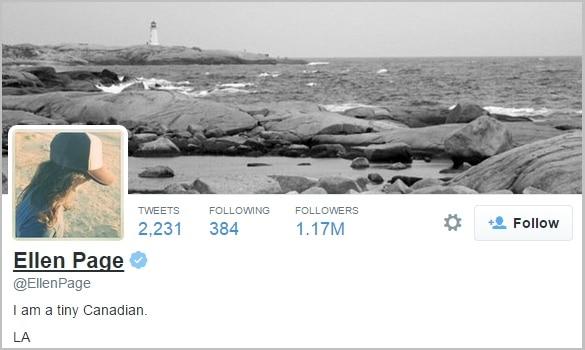 Ellen Page twitter bio