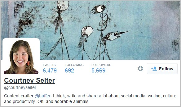 Courtney Seiter uses action words in her Twitter bio