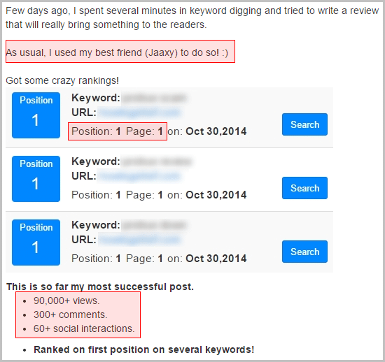 Testimony about how Jaaxy keyword tool put a guy into the first spot in Google