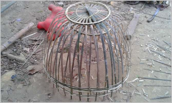 A bamboo rooster cage