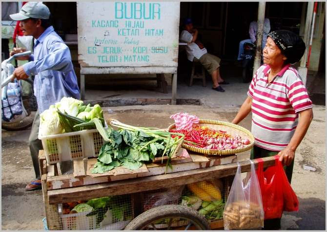 Old lady selling veggies in a Jakarta slum