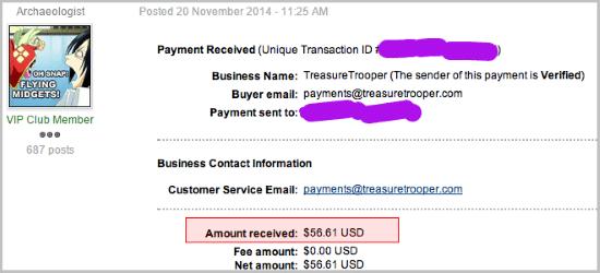 He earned $56.61 within Treasuretrooper.com