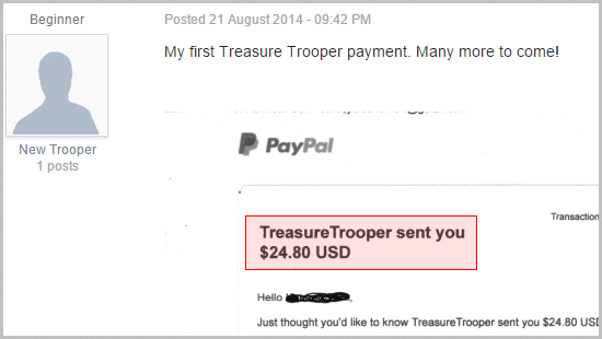 He earned $24.80 within Treasuretrooper.com
