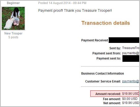 He earned $19.69 within Treasuretrooper.com