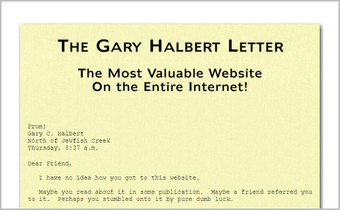 The very first Gary Halbert Letter
