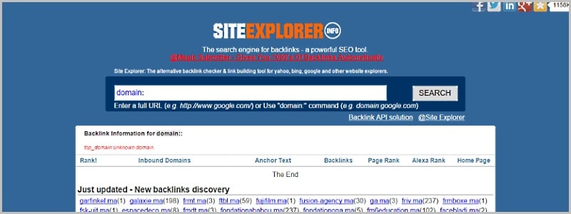 The free backlink checker engine for SEO.