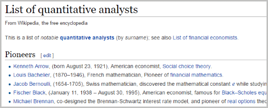 example of list of quantitative analysts
