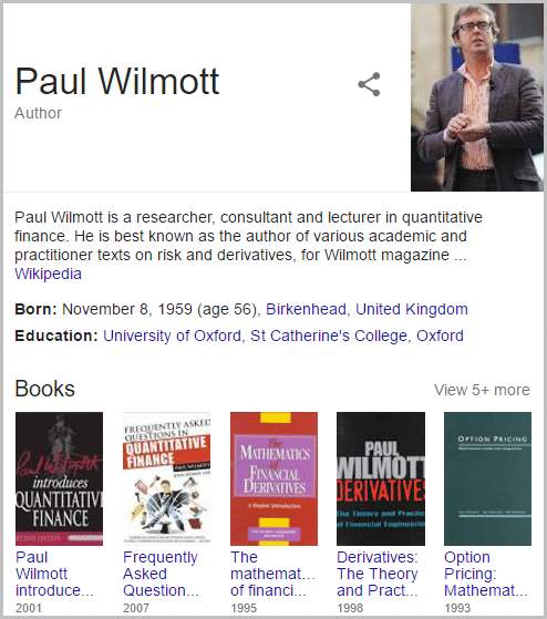 Screenshot of Paul's Wikipedia page