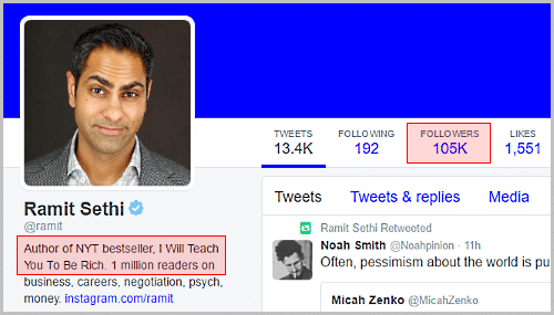 Twitter profile with 100,000+ followers arises trust
