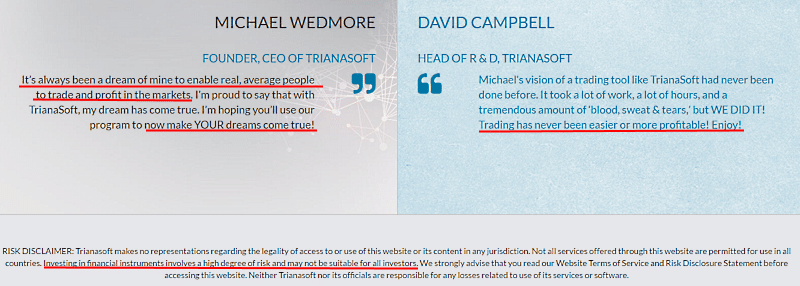 Michael Wedmore and David Campbell words contradict with their disclaimer