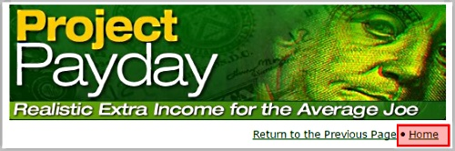 Project Payday sign up page