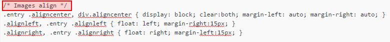 CSS code in WordPress stylesheet that shows image alignement