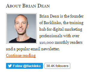 Brian Dean uses only Twitter follow button