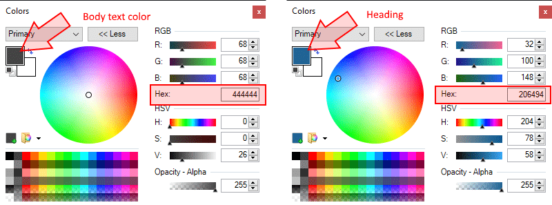 That's how to get color codes in Paint.net