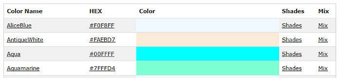 table of color names with hex codes, shades, and mixes
