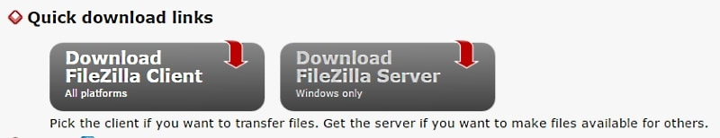 Filezilla Client and Filezilla Server download options