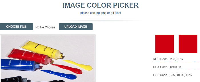 get colors from image with image color picker
