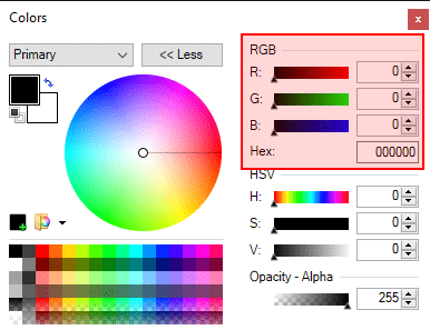 Paint.net toolbox shows you color hex codes