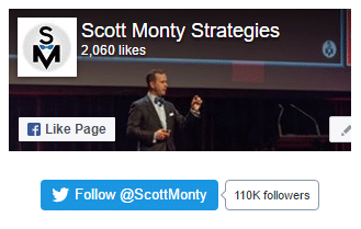 Scott Monty uses only Twitter follow me button