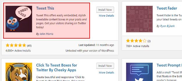 Install the 'Tweet This' WordPress plugin