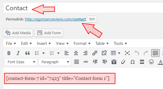 just copy the shortcode of contact form 7 into your contact page