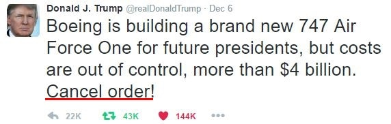 Persuasive Donald Trump tweet on Boeing - Cancel Order!