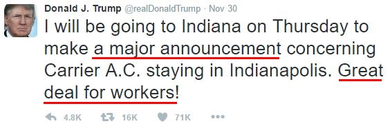 "Donald Trump emotions in tweets: ""A major announcement,"" ""great deal for workers!"""