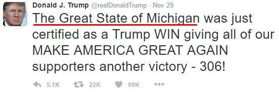 "Donald Trump emotions in tweets: ""The Great State of Michigan"""