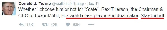 "Donald Trump superlatives in tweets: ""a world class player and dealmaker. Stay tuned"""
