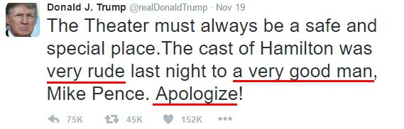 "emotional tweets of trump: ""very rude,"" ""a very good man,"" ""Apologize!"""